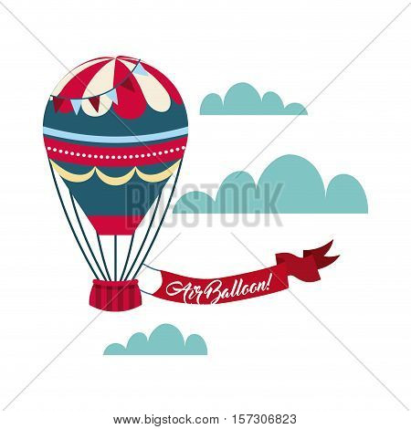 air balloon icon with red ribbon over skybackground. colorful design. vector illustration