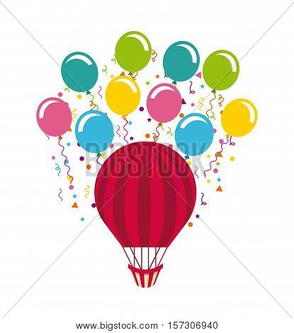 air balloon  with balloons icon over background. colorful design. vector illustration