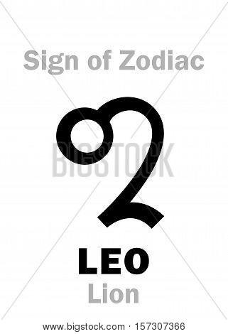 Astrology Alphabet: Sign of Zodiac LEO (The Lion). Hieroglyphics character sign (single symbol).