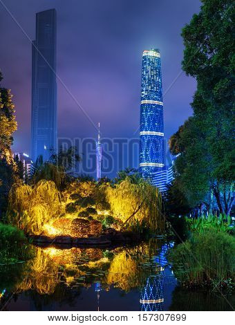 Night View Of The Zhujiang New Town From Park, Guangzhou, China