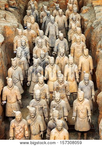 Ranks Of Terracotta Infantrymen Of The Famous Terracotta Army