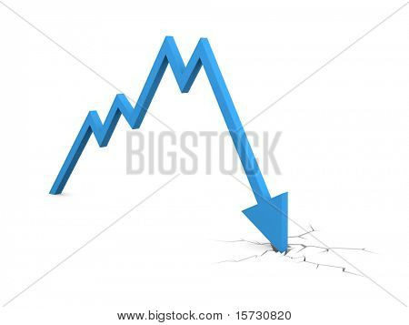 Economic Crisis. Business fall. Business concept. Isolated on white