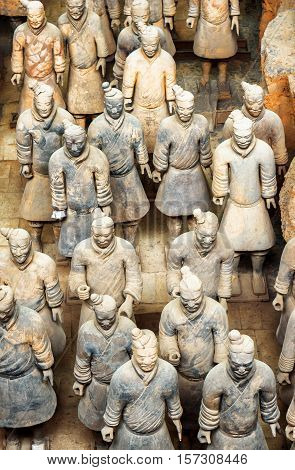 Top View Of Terracotta Soldiers Of The Terracotta Army, China