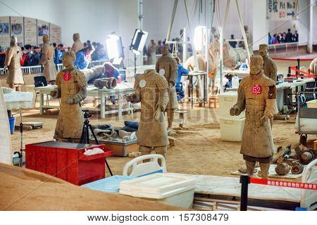 Archaeologists Working At Excavation Site Of The Terracotta Army