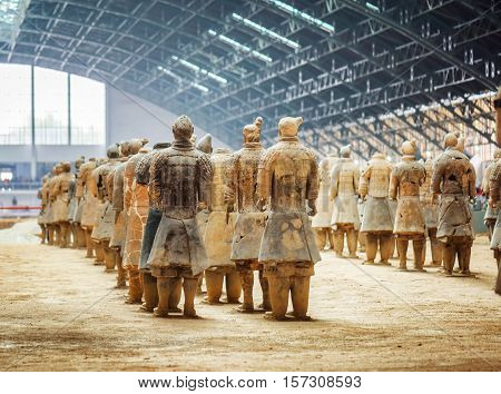Back View Of Terracotta Soldiers Of The Famous Terracotta Army