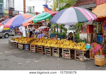 Selling Fruits On Street In Manila