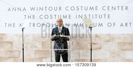 NEW YORK-MAY 5: Costume Institute head curator Harold Koda speaks at the Anna Wintour Costume Center Grand Opening at the Metropolitan Museum of Art on May 5, 2014 in New York City.