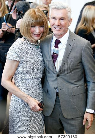 NEW YORK-MAY 5: Vogue Editor-in-Chief Anna Wintour (L) and Baz Luhrmann at the Anna Wintour Costume Center Grand Opening at Metropolitan Museum of Art on May 5, 2014 in New York City.