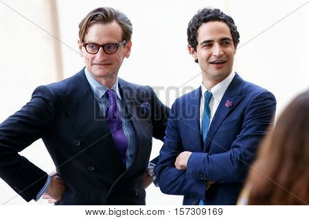 NEW YORK-MAY 5: Hamish Bowles (L) and Zac Posen attend the ribbon cutting ceremony for the Anna Wintour Costume Center Grand Opening at the Metropolitan Museum of Art on May 5, 2014 in New York City.
