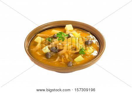 Fresh turnip stew - jota isolated on white