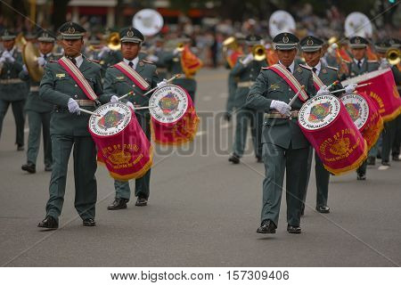 Buenos Aires, Argentina - Jul 11, 2016: Members of the Bolivian military band perform at the parade during celebrations of the bicentennial anniversary of Argentinean Independence day.