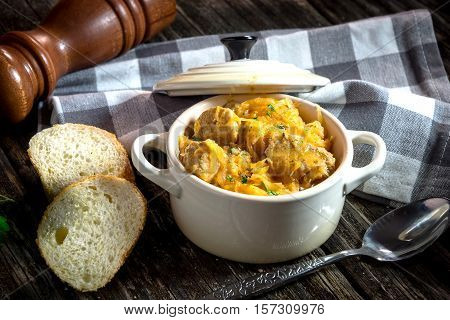 Homemade segedin Goulash-cabbage stew with beef .