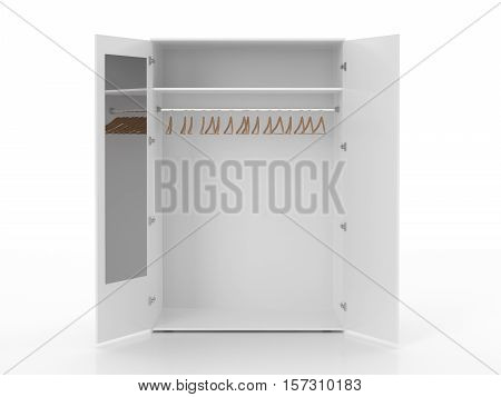 Empty White Wardrobe And Hangers Isolated On White Background