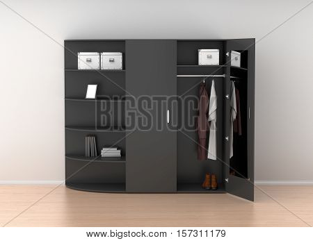 Open Wardrobe Isolated Against The White Wall In Bright Interior