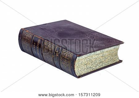 150 year old book isolated on white background