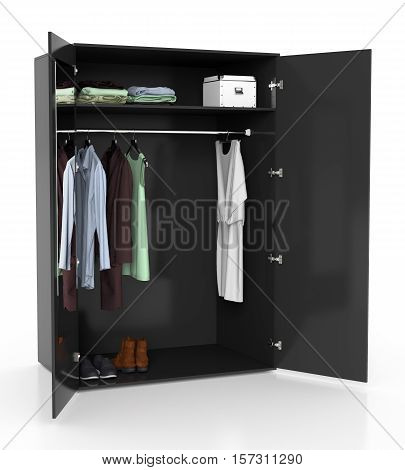 Open Wardrobe Isolated On White Background. Include Clipping Path.