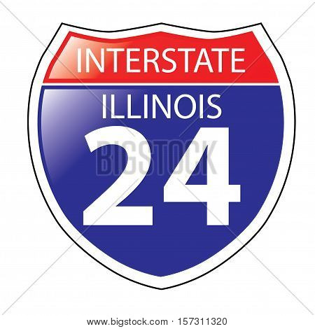 Layered artwork of Illinois I-24 Interstate Sign