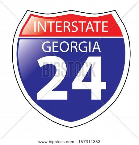 Layered artwork of Georgia I-24 Interstate Sign
