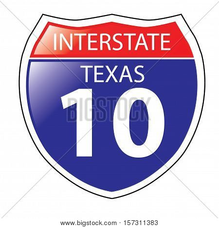 Layered artwork of Texas I-10 Interstate Sign