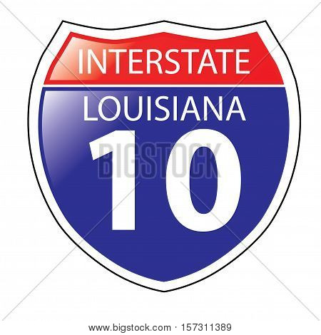 Layered artwork of Louisiana I-10 Interstate Sign