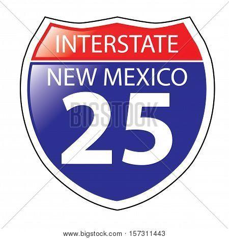 Layered artwork of New Mexico I-25 Interstate Sign