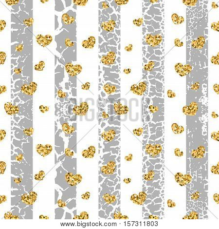 Gold grunge hearts craquelure stripes seamless pattern. Golden glitter confetti. White and gray background. Love Valentine day wedding design card wallpaper wrapping textile Vector Illustration
