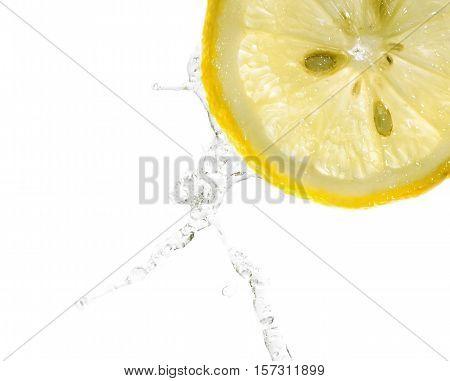 Lemon slices in water splash, white background, isolated on white