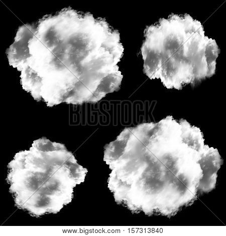 Set of white clouds isolated over black background realistic 3d rendering illustration