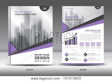 Purple Cover Annual report brochure flyer template creative design, cover design, cover and inside page layout infographics vector