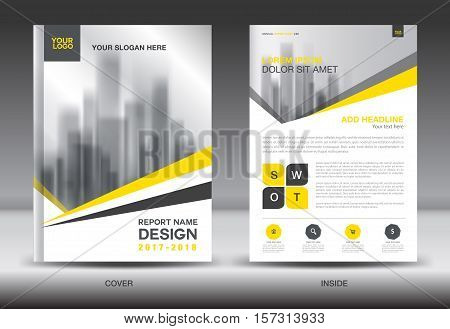 Yellow Cover Annual report brochure flyer template creative design, cover design, cover and inside page layout, infographics vector