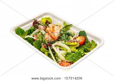 Healthy food delivery. Weight loss nutrition diet. Eat right concept healthy food clean food take away in cardboard box. Isolated on white. Top view.