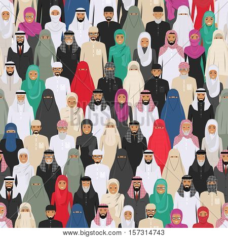 Vector seamless pattern group of arab men and women standing together in different traditional islamic clothes. Different dress styles. Cute and simple in flat style. Illustration of society members. Design people characters.