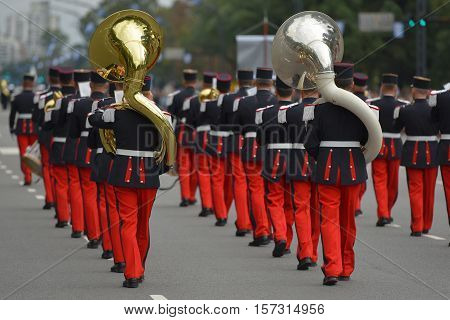 Buenos Aires, Argentina - Jul 11, 2016: Members of the French military band perform at the parade during celebrations of the bicentennial anniversary of Argentinean Independence day.
