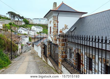 Summer beautiful Luarca town cityscape Asturias Spain.