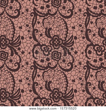 Brown lace seamless pattern with flowers on beige background