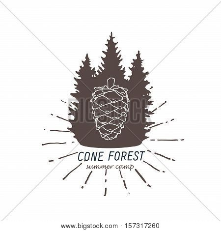 outdoor stylized logo, vintage style two colors sign