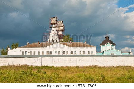 The ancient monastery in a historical Russian city of Kolomna in the restoration