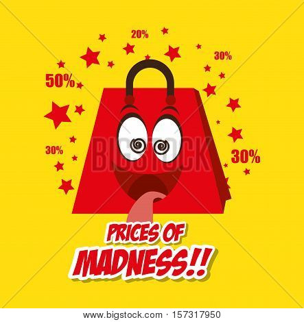 cartoon bag gift prices madness star yellow background vector illustration eps 10