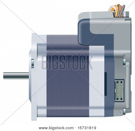 A vector illustration of a side view of an electric motor poster