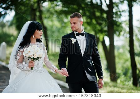 Great Wedding Couple Walking On Park Holding Hands.