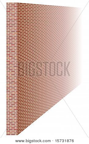 A three dimensional brick wall fading into the distance