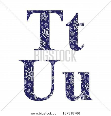 Uppercase and lowercase letters T and U of the English alphabet with winter pattern carved snowflakes vector