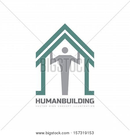 Human character and roof house - vector logo template concept illustration. Abstract building creative sign. Design element.
