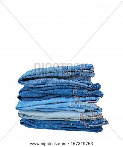 group of jeans isolated on white background with blank space for insert texts