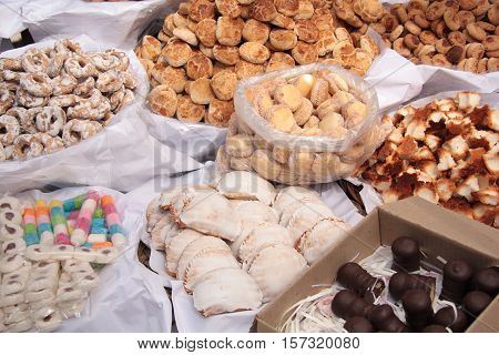 Confectionery and biscuits for sale in a market