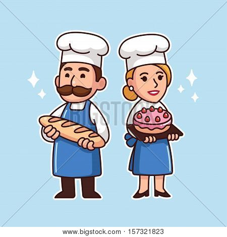 Cartoon bakers couple man with baguette and woman with cake. Cute vector characters illustrations.