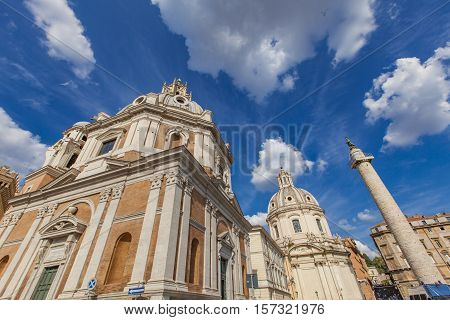 Santa Maria Di Loreto Church And Trajan Column In Rome