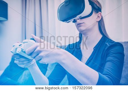 gaming game play gamer virtual glasses vr 3d veiw vision immersion controller concept - stock image