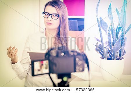blog video camera vlog blogger recording blogging makeup internet girl person photo concept - stock image