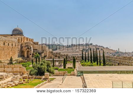 Panoramic view of the Solomon's temple remains and Al-Aqsa Mosque in Jerusalem, is believed by Muslims to be the second mosque on earth after the Kaba.